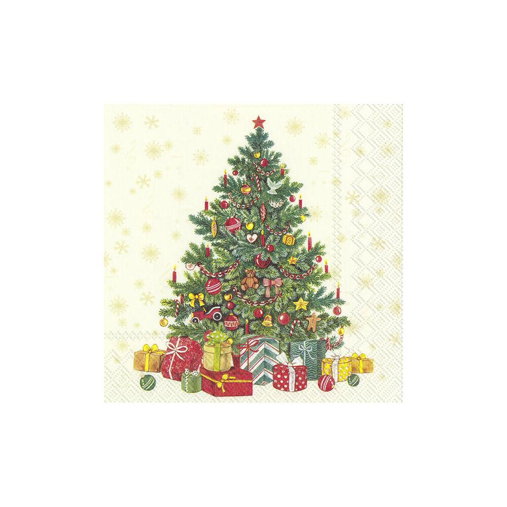 IHR papírszalvéta csomag 33x33cm FESTIVE CHRISTMAS TREE krém