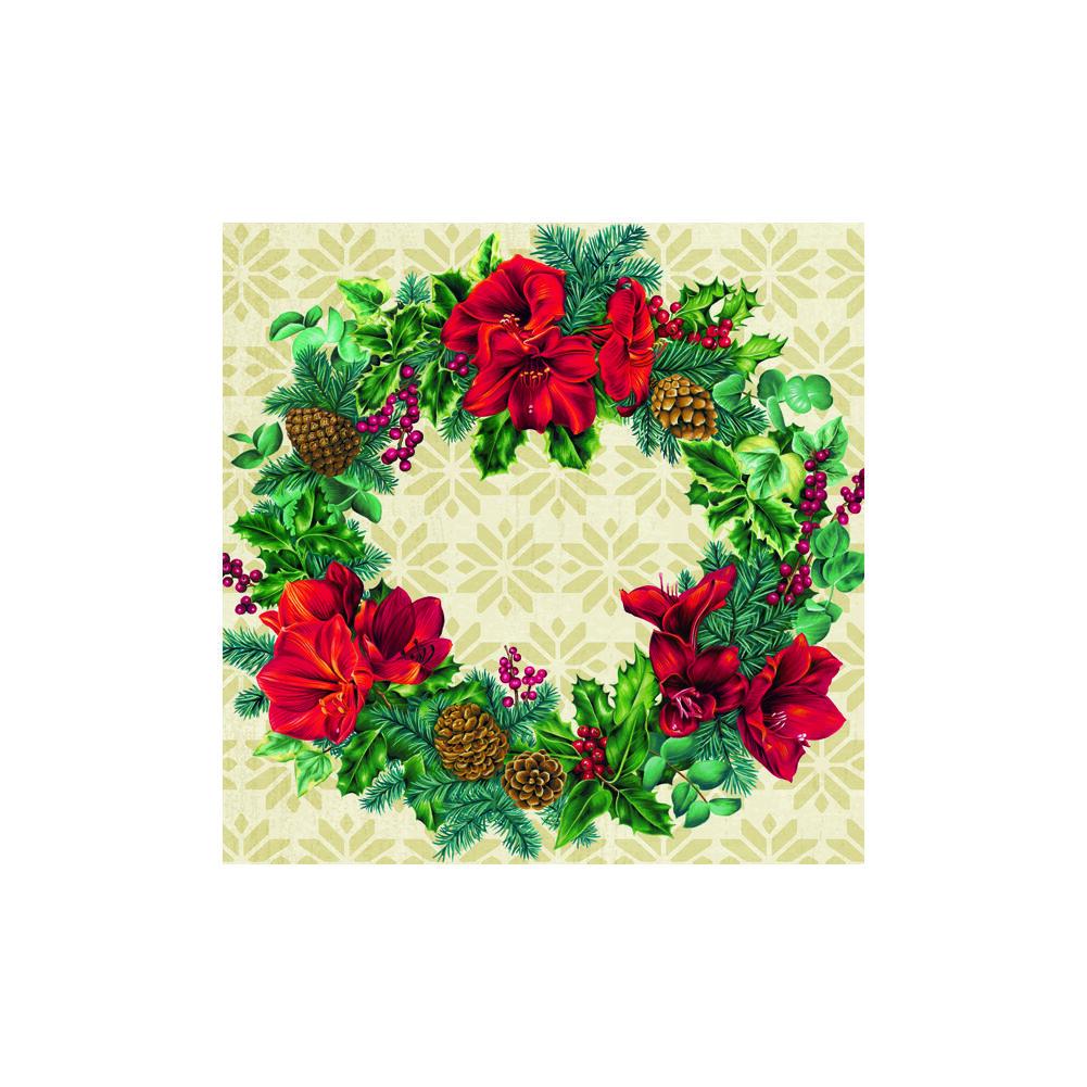 IHR papírszalvéta csomag 33x33cm WREATH OF CHRISTMAS krém