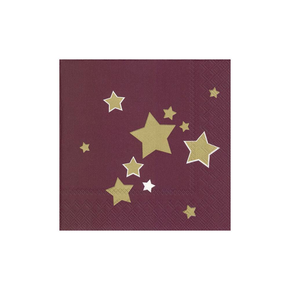 IHR papírszalvéta csomag 33x33cm SHINY STARS bordó
