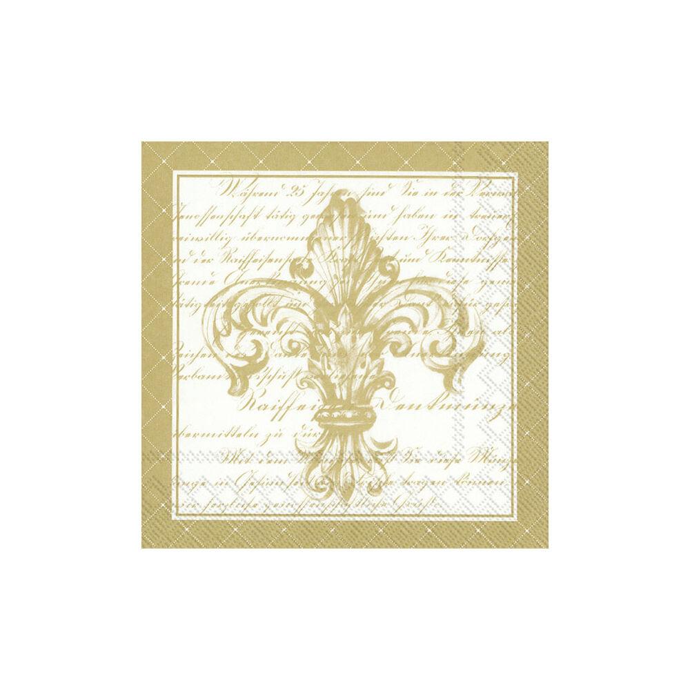 IHR papírszalvéta csomag 33x33cm French Fleur De Lis fehér-arany