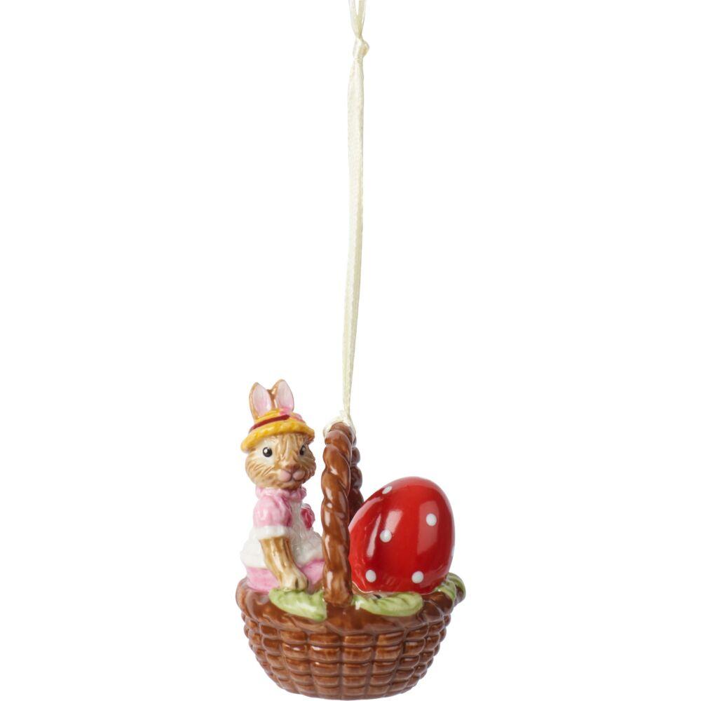 V&B Bunny Tales függő dísz nyuszi kosárban 6cm, Anna