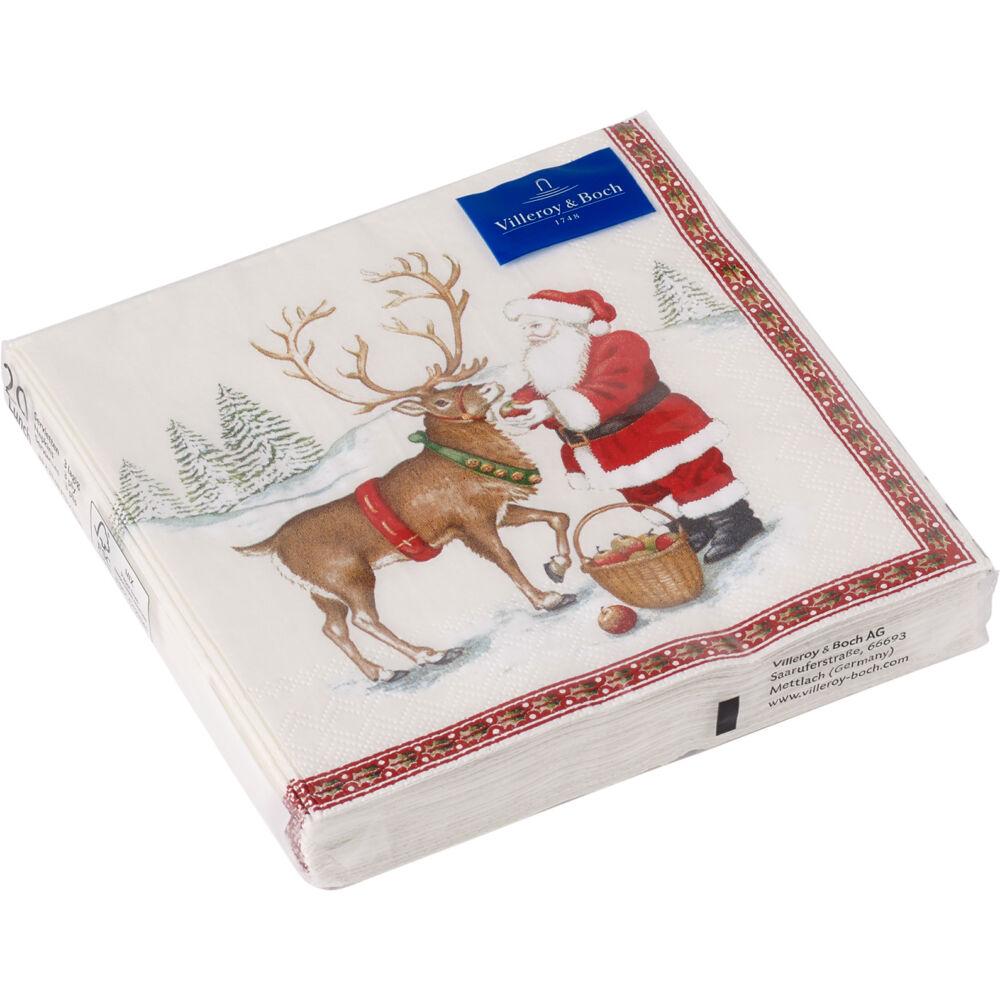 V&B Winter Specials papírszalvéta csomag 25x25cm, Télapó szarvasával