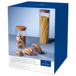 V&B SO bambusz fedeles üveg tároló szett 3részes