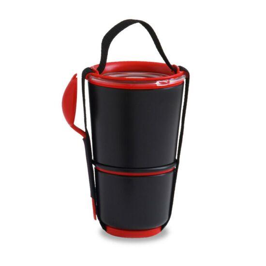 BB Lunch Pot két szintes ételhordó evőeszközzel fekete-piros