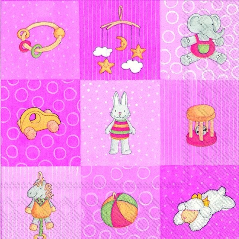 IHR papírszalvéta csomag 33x33cm Babies Toys rózsaszín