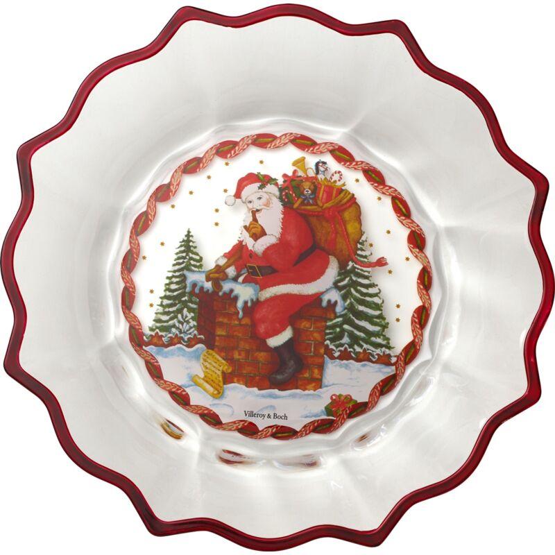 V&B Christmas Glass Accessories süteményes tál, Télapó a tetőn