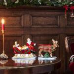 V&B Christmas Toys mécsestartó, Télapó Angyalkával és szarvasokkal